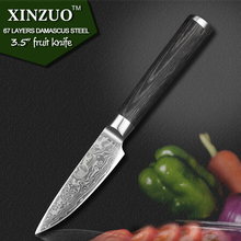 XINZUO 3.5″ paring knife kitchen knife VG10 Damascus steel kitchen knives parer fruit knife with pakka wood handle FREE SHIPPING