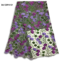African French Lace Material 2017 Beautiful Jacquard African Tulle High Quality 5 Yards In Purple Green