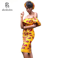 Shenbolen Summer New Fashion African Dresses For Women One shoulder Dress Ankara cotton Print New Fashion Sexy Clothes