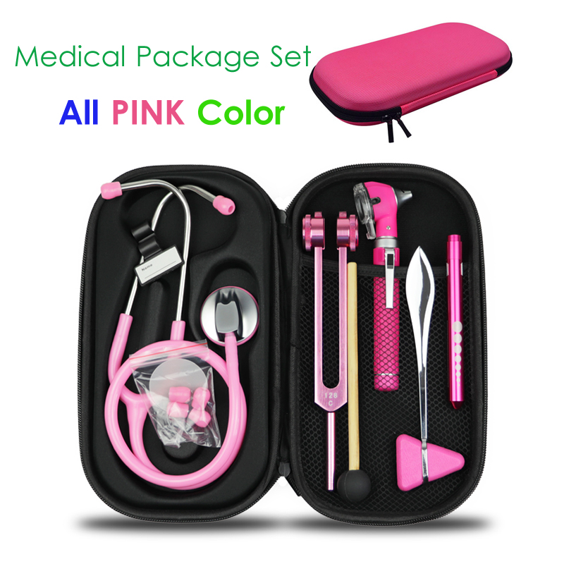 Pink Medical Hard Carrying Storage Case Bag Pouch and Stethoscope Otoscope Tuning Fork Reflex Hammer LED Penlight Torch Tool