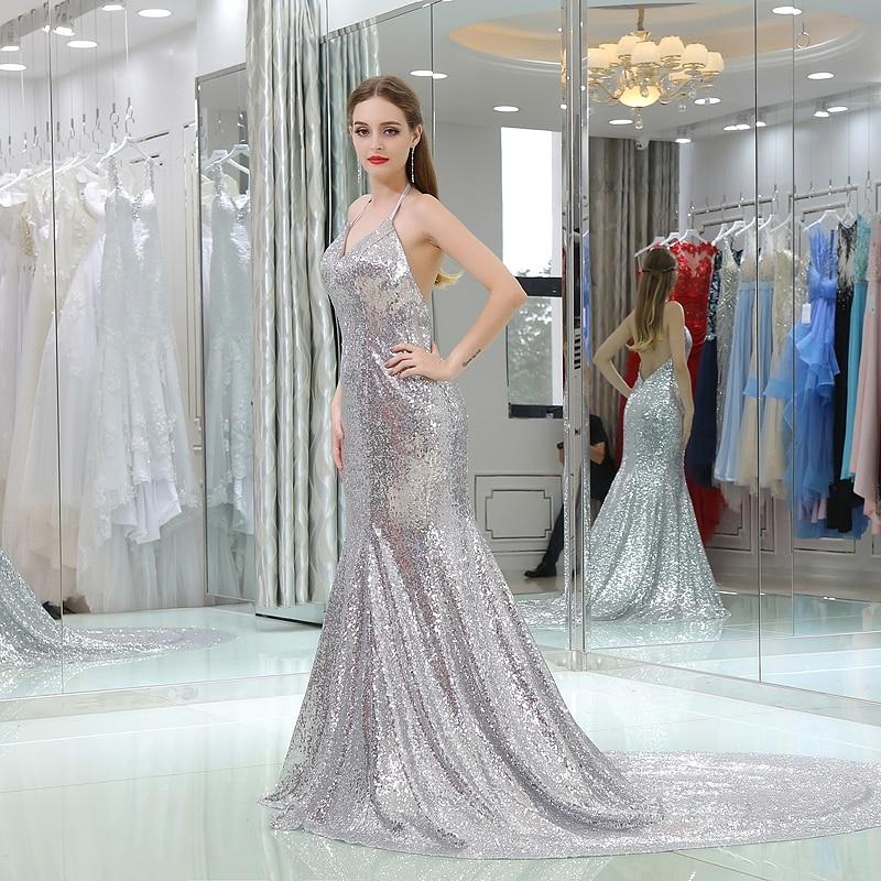 Silver Sequins Evening Dress Sexy Halter Sleeveless Backless Long