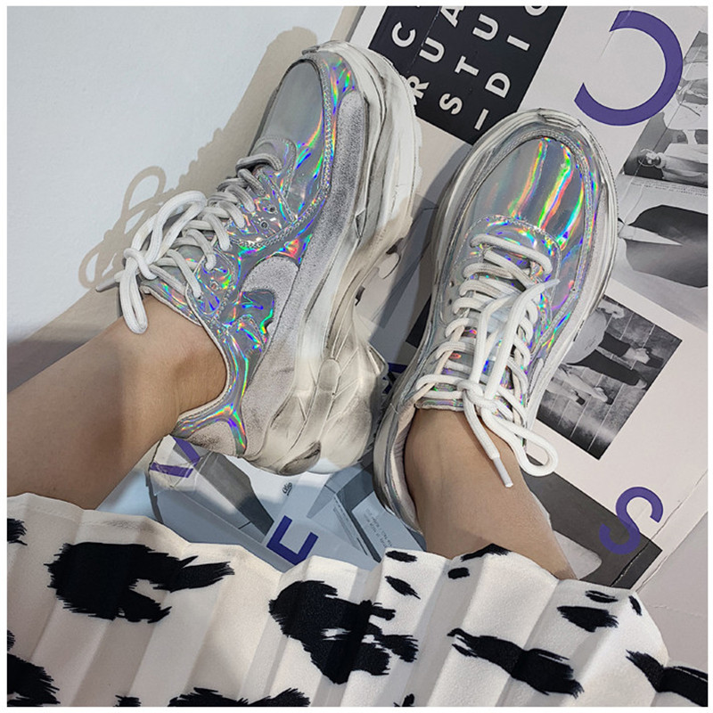 2019 Spring Autumn Shoes Women Platform Shoes Lady Lace Up Casual Pumps Creepers Harajuku Punk Sneakers Girl Female Silver Shoes