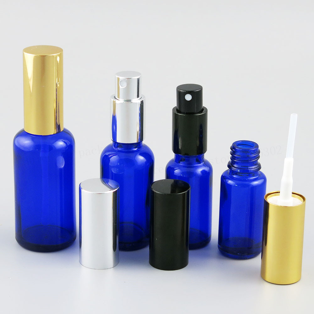 Cobalt Blue Glass Bottle With Aluminium Mist Sprayer Empty Travel Glass Parfum Bottle 100ML 50ML 30ML