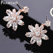Brand Designer High Quality Genuine Gold Color AAA Cubic Zirconia Stud Earrings Crystal Flower Stud Earring