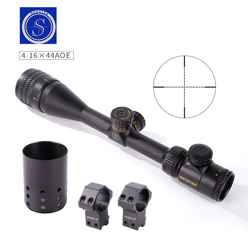 SHOOTER 4-16X44AOE Riflescope Hunting Scopes Outdoor Sniper Gun Optic Sight Airsoft Accessory luger outdoor optical sight 4 16x44aoe riflescope hunting optics scope for gun airsoft rifle sniper accessories