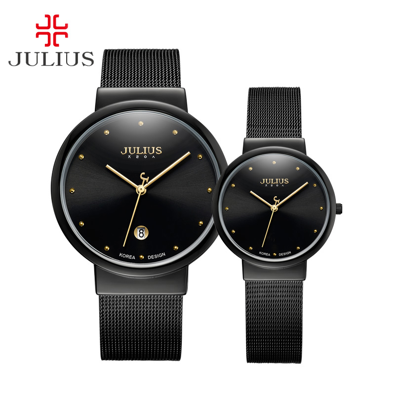 5 Colors Women's Men's Watch Couple Lovers Fashion Hours Dress Bracelet Thin Stainless Steel Business Boy Girl Gift Box