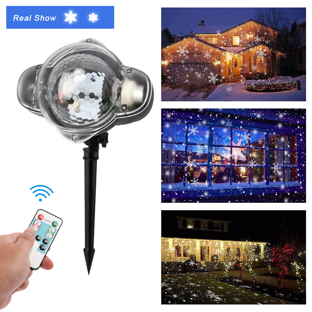 LED Projector Light Snow Falling Lights Rotatable Waterproof Outdoor Indoor Snowflake Decorations With Remote Control