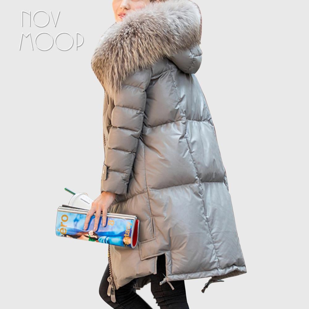 Hiver en cuir véritable duvet de canard long manteau réel fourrure de raton laveur à capuchon tranchée manteau coupe-vent réel en cuir d'agneau outwear LT1863
