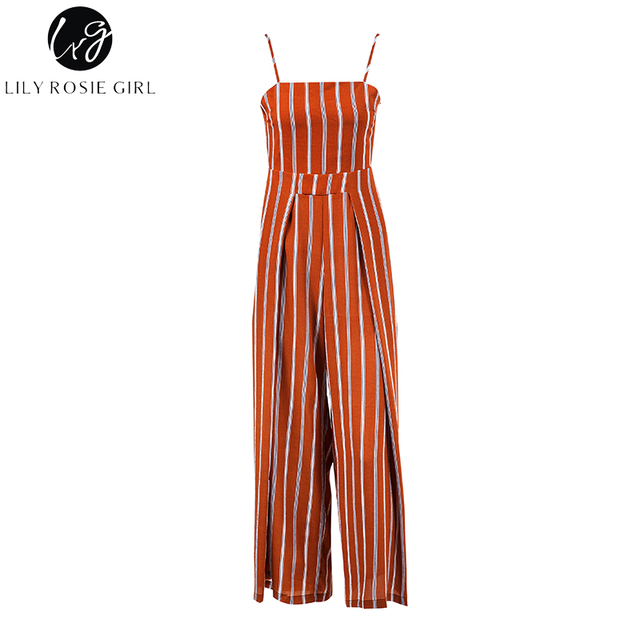 Lily Rosie Girl Red Striped Off Shoulder Jumpsuits Women Summer Beach Sexy Strap Long Rompers Playsuits Backless Bow Overalls
