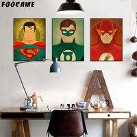 FOOCAME Superhero Spider-Man Batman Iron Man Superman Poster Print Wall Art Canvas Painting Decoration Pictures Living Room