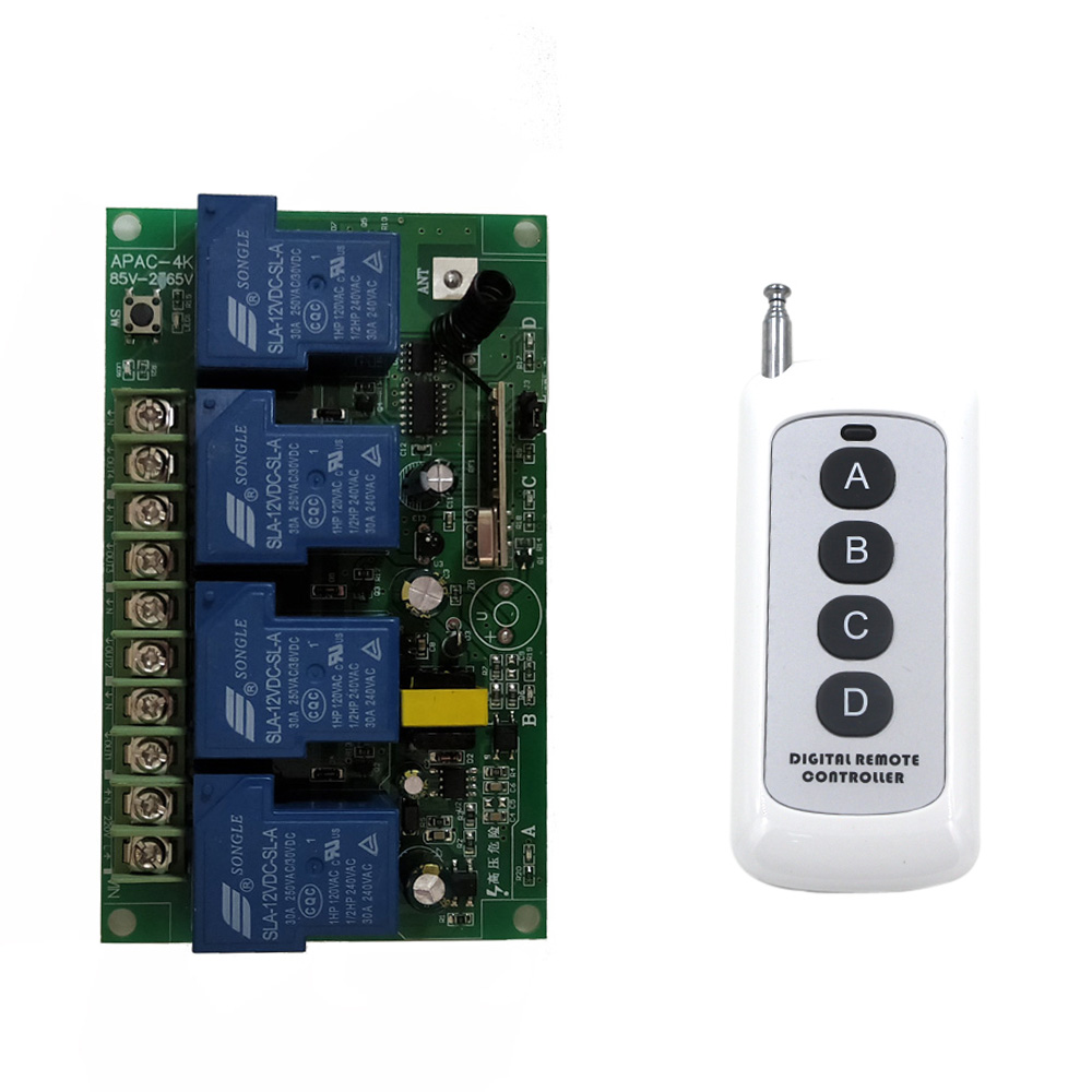 Home Wireless Remote Control Switch Light Lamp 85-265V RF 1 Channel Power On Off