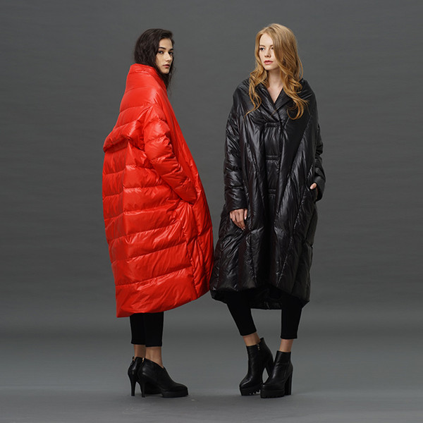 S-4XL Plus size 90% duck down coat fashion brand high collar cloak style long down jacket women