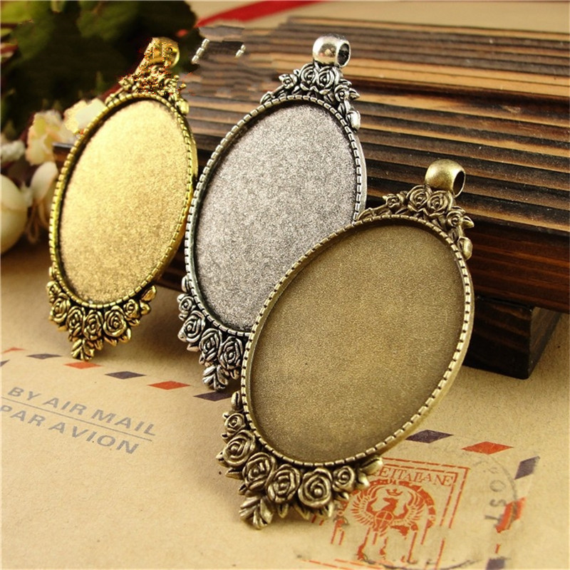 40*30mm Retro Charms Antique Style Pendants Cameo Cabochon Setting Base