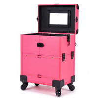 Y273,Big Size Aluminum Alloy Cosmetic Organizer Multi layer Beauty&Makeup Storage Trolley Cosmetic Case Travel Toiletry Trunk