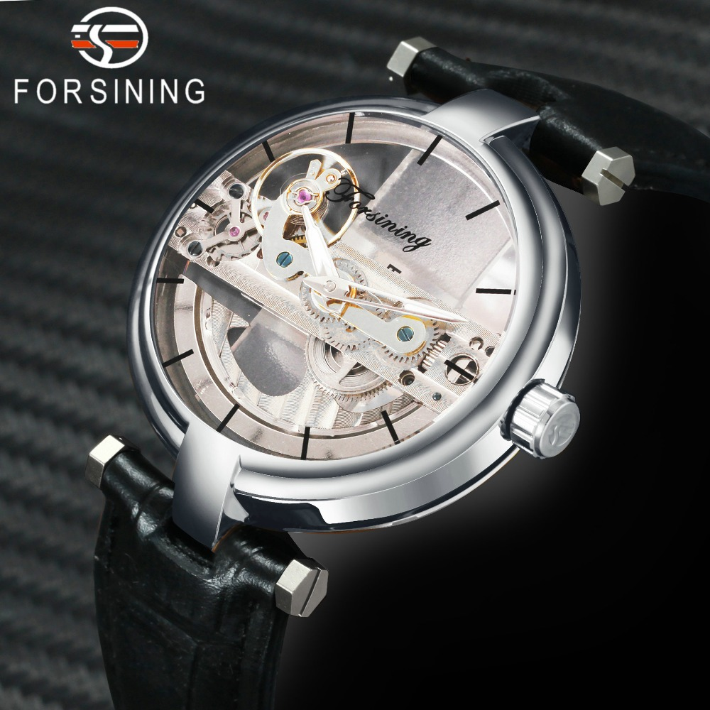 FORSINING Golden Bridge Watch Men Top Brand Luxury Auto Mechanical Transparent Case Genuine Leather Strap Fashion Couple Clock