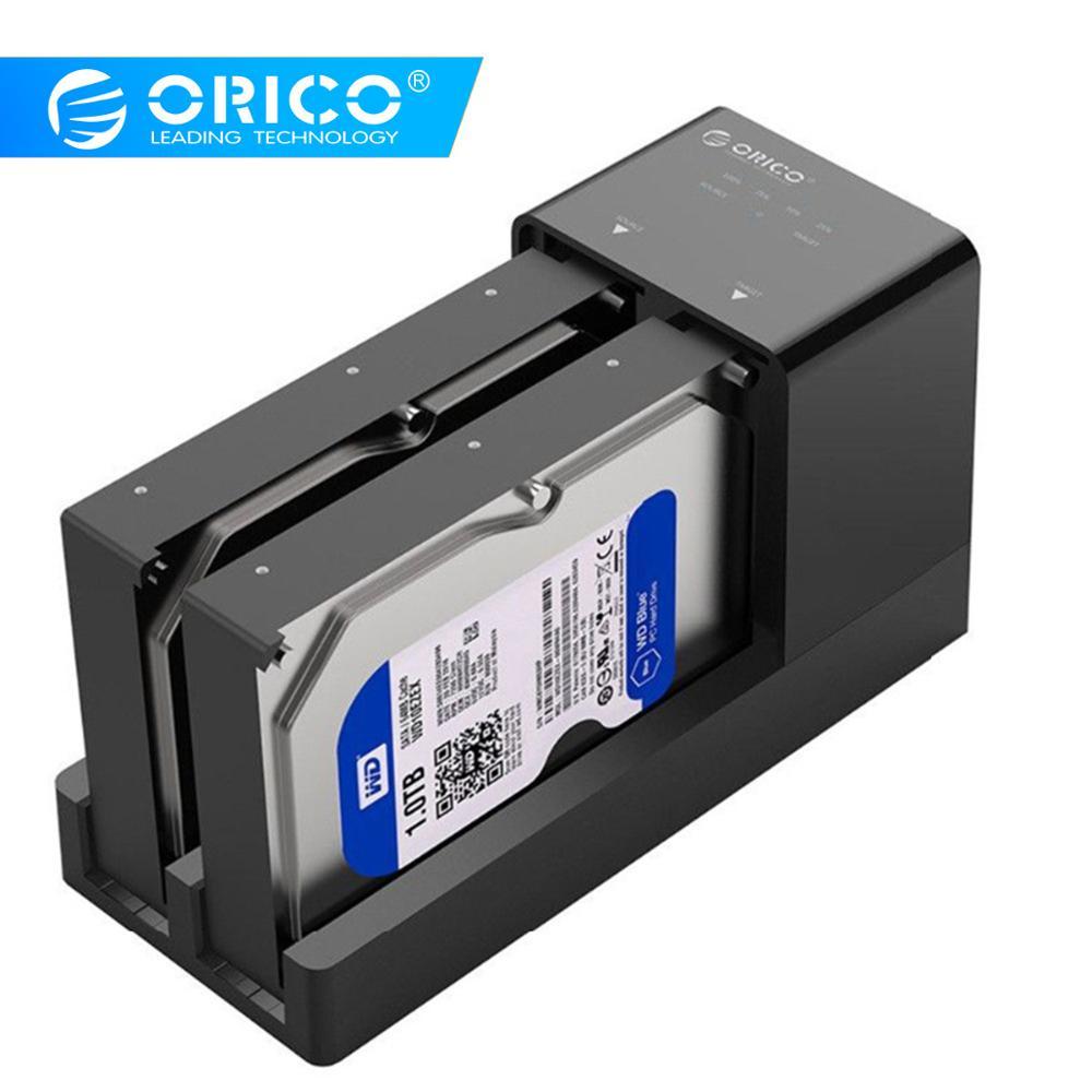 ORICO double baie HDD Station d'accueil 2.5 3.5 USB 3.0 à Sata boîtier de disque dur Support hors ligne Clone adaptateur de disque dur pour HDD SSD