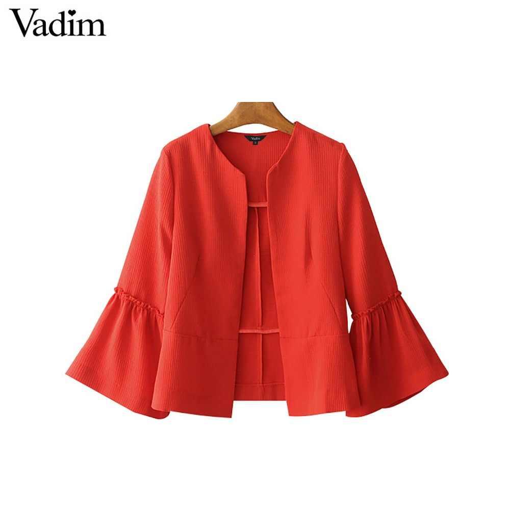 Vadim frauen elegante feste jacke öffnen stich design flare hülse mäntel schwarz rot damen casual marke oberbekleidung tops CT1481