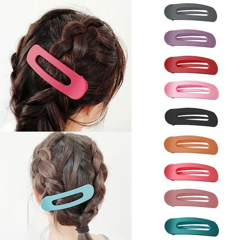 1Pc Korean Women Candy Colors Hair Clip Large Elliptical Duckbill Shape Hairpin Hair Accessories Bb Girls Clip Hair Ornaments