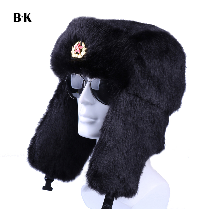 Winter Russian Ushanka Bomber Hat Soviet Badge Army Military Hats Faux Rabbit Fur Trapper Aviator Cossack Trooper Snow Ski Caps