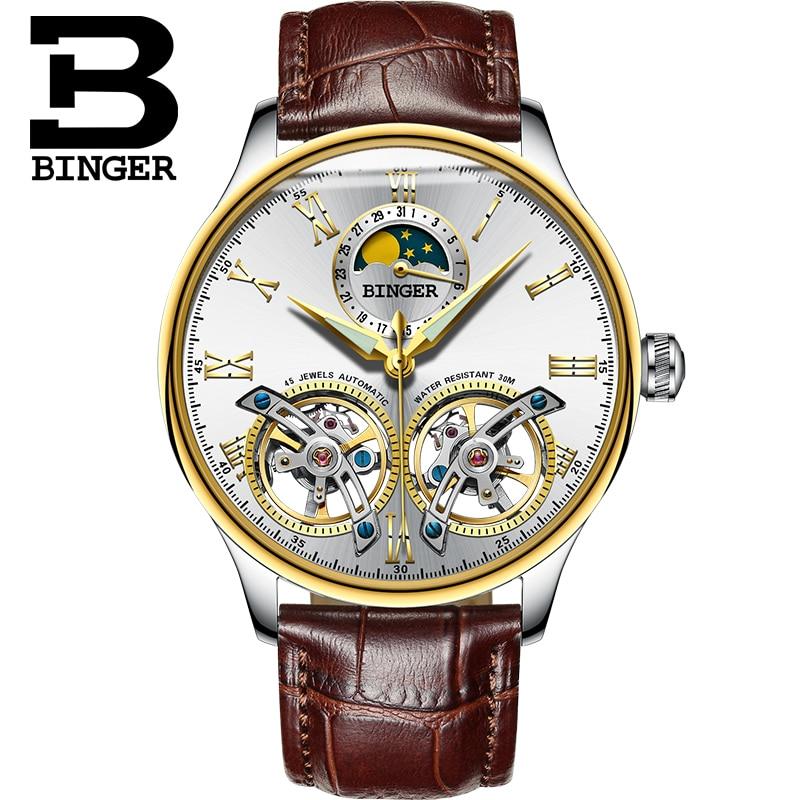 Szwajcaria zegarki mężczyźni luksusowa marka BINGER szafirowy wodoodporny toubillon pełna stal mechaniczne zegarki na rękę B 8606MN 9 w Zegarki mechaniczne od Zegarki na  Grupa 2