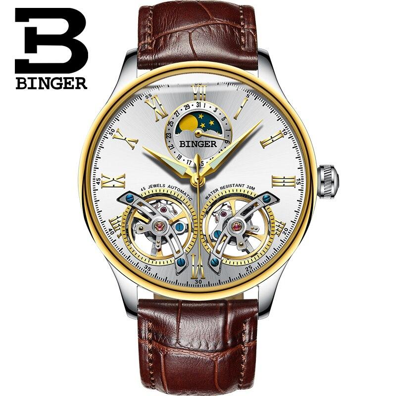 795a6a85c4a Relógios Mecânicos Homens de Luxo Relógios da Marca Suíça Binger Safira