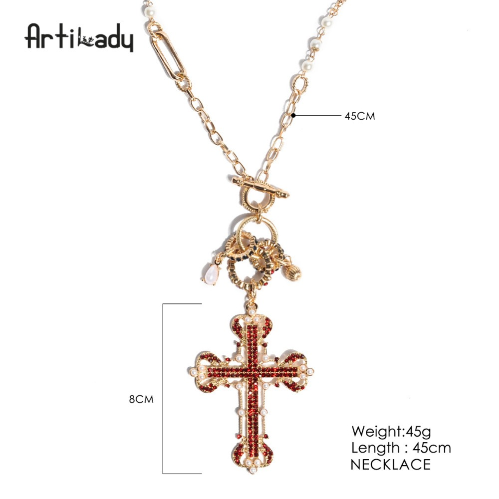 Artilady red crystal cross pendant necklace gold color chain artilady red crystal cross pendant necklace gold color chain luxurious simulated pearl jewelry for women as gift in pendant necklaces from jewelry aloadofball Images