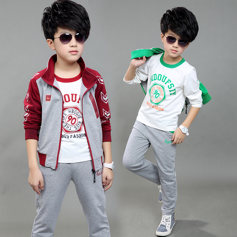 2016 new children's clothing boys clothes big virgin Spring and autumn sports casual long-sleeved suit three-piece