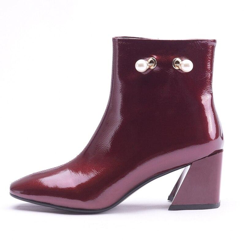 Pour Anmairon 34 Bout Femmes Bottines De Black Base 2018 Ly297 Zip Carré Red Chaussures wine Bottes Tendance Taille 38 L5j4AR