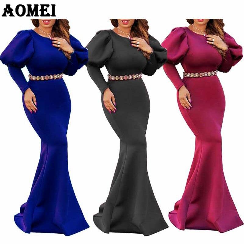 Женское длинное платье-Русалочка, вечернее платье с длинным рукавом и буфами, красное, синее, формальное платье на весну и лето 2020