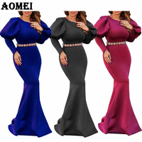 2019 Women Long Dress Maxi Mermaid Night Party Wear Long Puff Sleeves Evening Red Blue Classy Formal Dresses Gowns Spring Summer