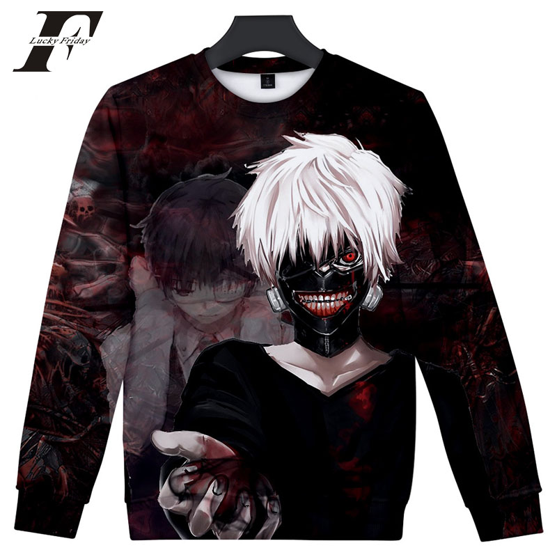 LUCKYFRIDAYF 2018 3D printed hit hop Anime Tokyo Ghoul cotton oversized hoodies sweatshirts men Capless Long Sleeves streetwear
