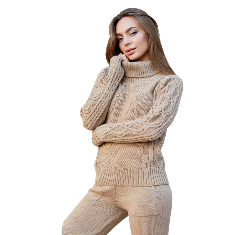 2018 2019 Autumn winter New Knitted tracksuit Turtleneck sweatshirts Women clothing 2 Piece set Knit pant