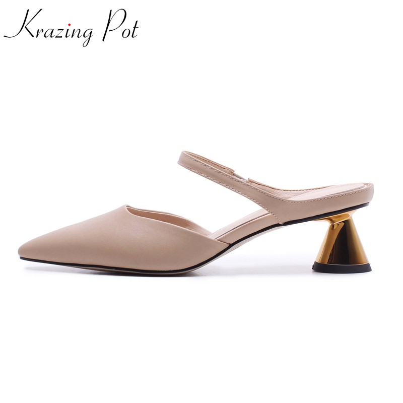 krazing pot 2019 full grain leather metal strange style med heels pointed toe slip on summer European designer beauty shoes L05krazing pot 2019 full grain leather metal strange style med heels pointed toe slip on summer European designer beauty shoes L05