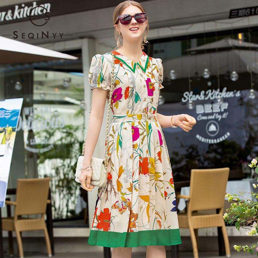 SEQINYY Summer Dress 2019 New Fashion Women Short Puff Sleeve High Quality Buttons Knee Beige Colroful