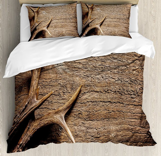 Antlers Decor Duvet Cover Set King Size Deer On Wood Table Rustic Texture Surface Hunting