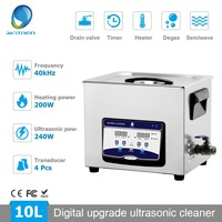 Skymen 10L Digital Ultrasonic Cleaner Degas Heated Timer Sonic Cleaning for Industrial Metal Parts Lab Glasses Medical Tools PCB