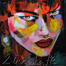 Palette knife painting portrait Palette knife Face Oil painting Impasto figure on canvas Hand painted Francoise Nielly 06