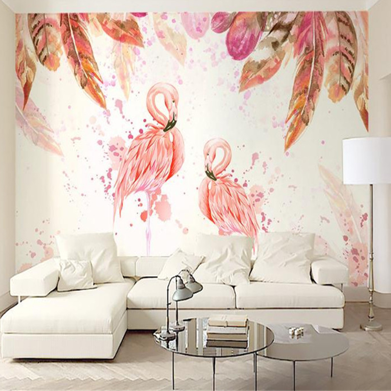 Photo Wallpaper for Walls 3 D Nordic Simple Living Room Bedroom Desktops Wall Walls Feather Flamingos Home Improvemen Wallpapers wallpaper for walls 3 d modern trdimensional geometry 4d tv background wall paper roll silver gray wallpapers for living room
