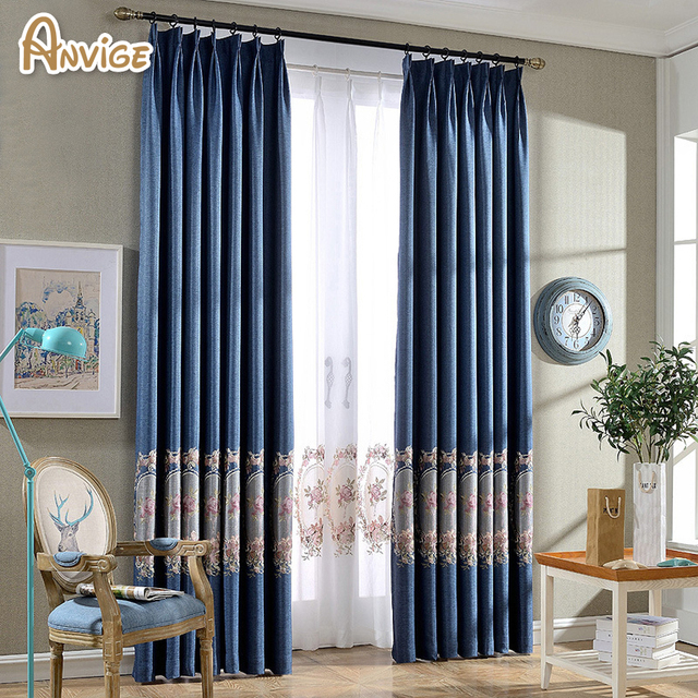 High Quality Embroidered Blue Color Blackout Curtain For Living Room Bedroom Window Shaded Blind And Drapes