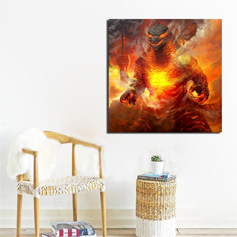 Godzilla King Of The Monsters Burning Canvas Painting Living Room Home Decoration Modern Wall Art Oil Painting Posters Pictures in Painting Calligraphy from Home Garden