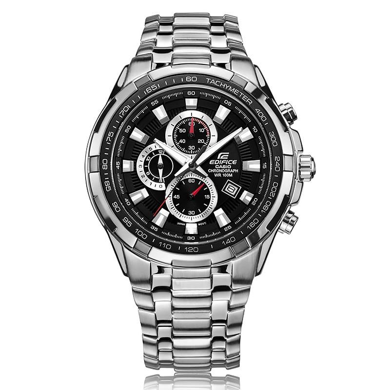 Business New 2017 Casio watch men's edifice series sports quartz watch 100 meters waterproof black plate steel belt EF-539D цена и фото