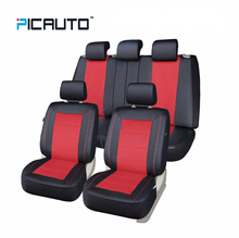 PIC AUTO Universal Full Set Car Seat Covers 3D Splicing Technology Mesh Fabric & PU Leather+Side Airbag Car interior Accessories