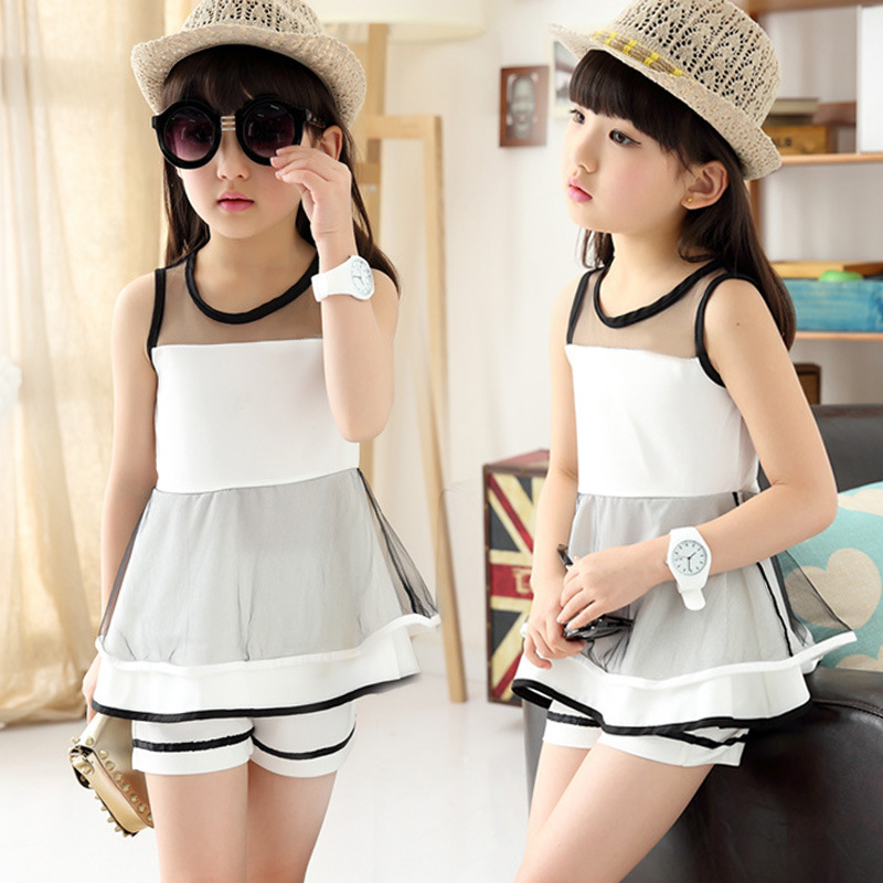 Children Clothing Sets For Girls Summer Sleeveless Patchwork Lace Tops & Short Pants 2pcs Fashion Baby Girl Clothes Set 2pcs set summer baby girl clothes set fashion sleeveless white tops casual long pants children girls clothing sets