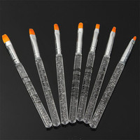 High Quality Transparent Nail Pen 7pcs UV Gel Acrylic Crystal Design Builder Painting Nail Art Brush Pen Tool Set Beauty Makeup Health & Beauty