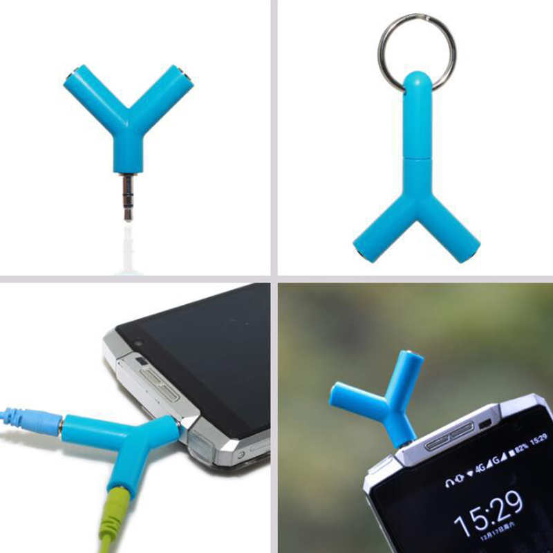 Y-shape 3.5mm Earphone Adapter Double Jack Adapter Plug Stereo Headphone Splitter For PC/MP3 Smartphone Player Audio Cables