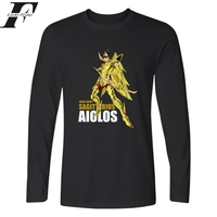 Grappige t-shirts hiphop Gold Saint Seiya Lange Mouw T-shirt mannen Fitness Anime TShirts en Katoen TShirt Plus Size in Tee Shirt