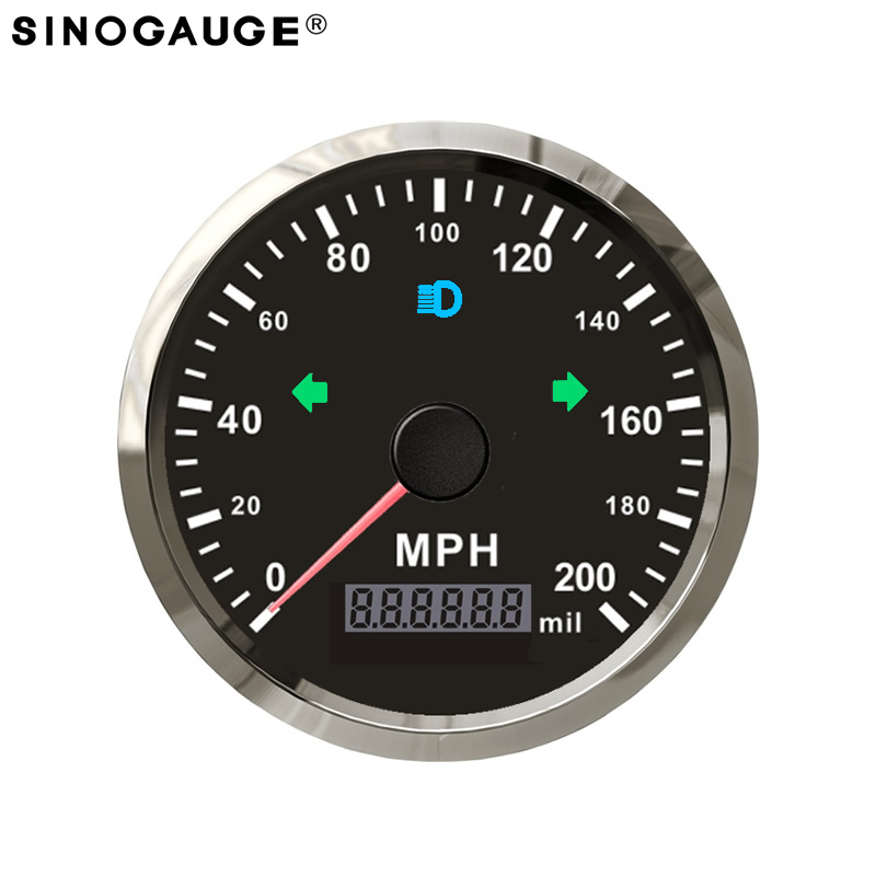 motorcycle speedometer 200km/h kph mph 85mm with high beam LED blinker hot rod