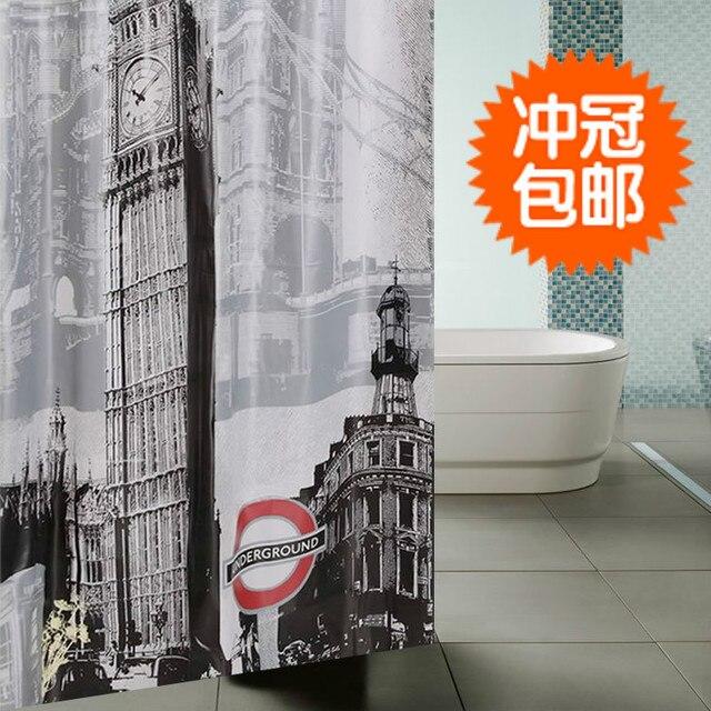 Free shipping London bridge Big ben print super thickening waterproof peva shower curtain with grommet bathroom liner bath decor