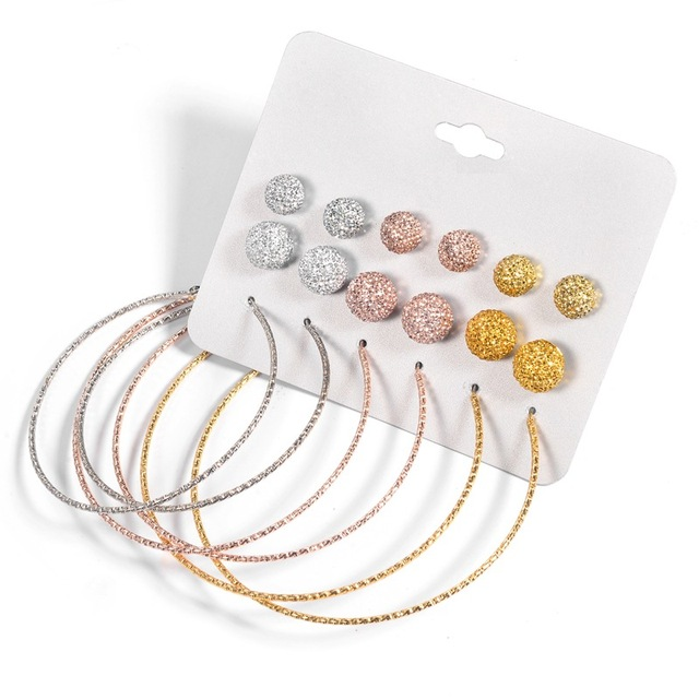Bohemian Hoop Earrings For Women Fashion Rhinestones Ball Party Costume Jewelry 9pair Sets