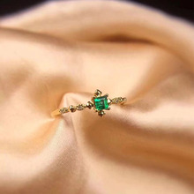 ANI 18K Yellow Gold (AU750) Engagement Women Ring Certified Natural Emerald Fashion Real Diamond for Anniversary Gift